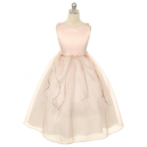 Dusty Rose Satin Bodice Flower Girl Dresses with Pearl-Accented Flowers Birthday - $28.00