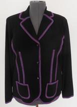 Exclusively MISOOK Petite M Black 3-Button Jacket w/ Purple Pink Blue De... - $59.39