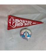 Boston Red Sox ca 1950's Mini Felt Pennant and Pinback - $26.17