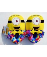 DESPICABLE ME MINIONS MOVIE Tie-Dye Plush Slippers NWT Size 11/12, 13/1 ... - $15.99