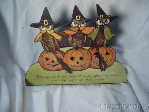 Bethany Lowe 3 Owls and Pumpkins on Halloween Dummy Board no. RL8151