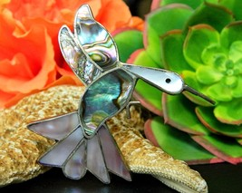 Vintage Hummingbird Bird Brooch Pin Abalone MOP Shell Alpaca Mexico - $22.95