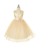 Gold Sequined Bodice Flower Girl Dress Birthday Prom Pageant Bridesmaid ... - $40.00+