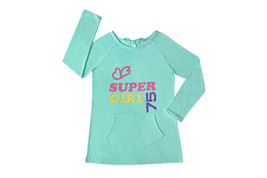 Flower French Terry Pullover, Long sleeves Girl's Top with Kangaroo pocket - $14.99