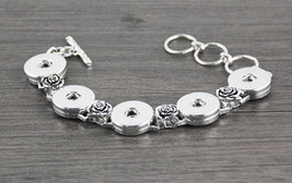 Roses on Bracelet with 5 snaps - Interchangeable w/Ginger snaps 18mm- NEW - $8.80