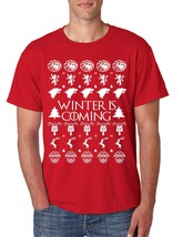 Men's T Shirt Winter Is Coming Ugly Christmas Sweater Cool Gift - $10.94+