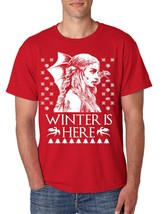 Men's T Shirt Winter Is Here Ugly Christmas Sweater Khalessi Gift - $10.94+