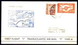 PORTUGAL 1939 # 567 + C2 1ST TRANS ATLANTIC FLIGHT COVER 4542-RD-A1 - $19.80