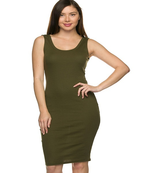 HYPNIQUE BOUTIQUE- Womens Olive Green Ribbed Fitted Midi ...