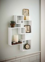 Single Wood Wall Shelf White Intersecting Boxes... - $89.97