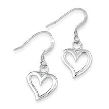 925 Sterling Silver Polished Heart Dangle Earrings - $10.56