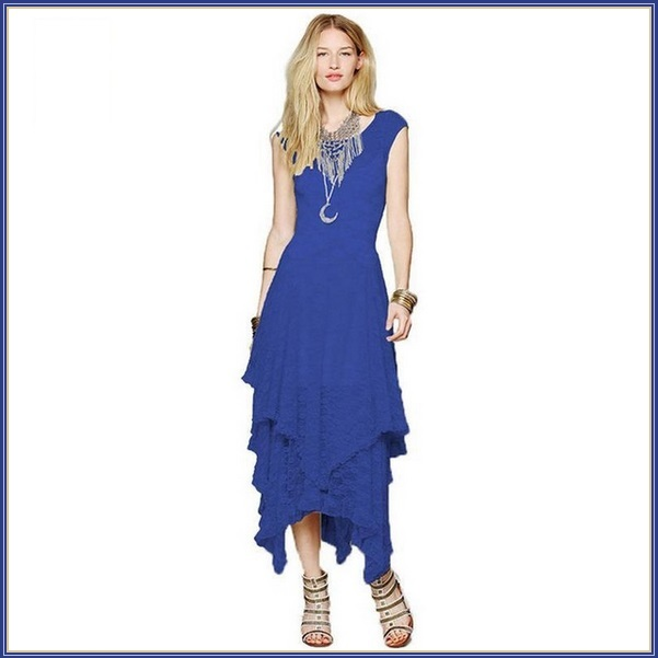 Bohemian Plus Size Sleeveless Tiered Sheer Layered Lined Lace Irregular Hem Gown