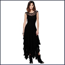 Bohemian Plus Size Sleeveless Tiered Sheer Layered Lined Lace Irregular Hem Gown image 2
