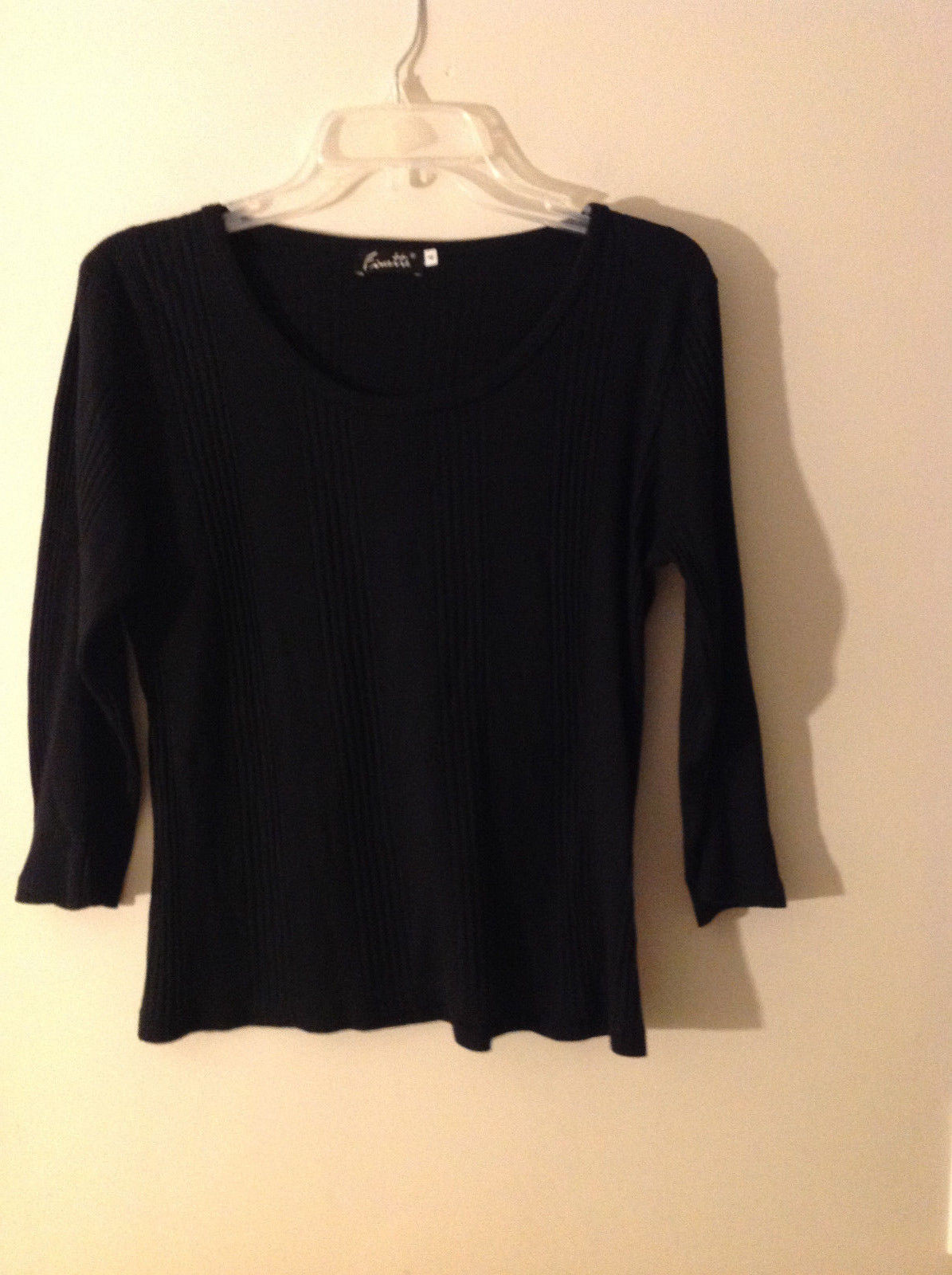 Finette Women's Size 4 Black Sweater Thin Summer Knit 3/4 Sleeves w/ Scoop Neck