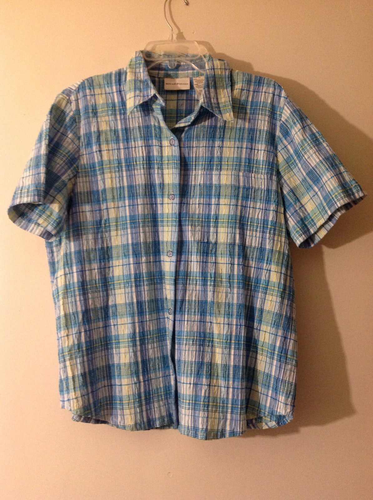Alfred Dunner Women's Size 14 Button Down Shirt in Blue Yellow White Plaid Crepe
