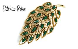 Gerry's Vintage Filigree Leaf Brooch with Green Enameled Inset Leaves - $12.00