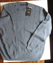 NWT IZOD Sweater Cotton Crew neck Blue Jeans Heather Block Design Ribbed... - $44.55