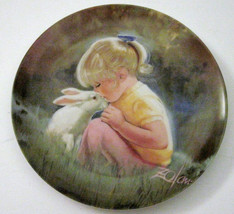 Tender Moment Collector Plate by Donald Zolan Girl Rabbit 1984 Children ... - $19.80
