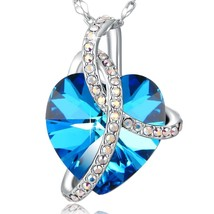 Heart Of Ocean Blue Necklace Love Heart Pendant Necklace PLATO H Blue He... - $86.84