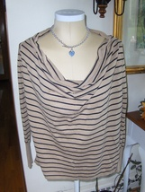 Love By Design Cowl Draped Neck Womens Top Long Sleeve Striped Tan Black... - $14.99