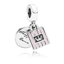 925 Sterling Silver Shopping Queen with Soft Pink Enamel Charm Bead QJCB986 - $21.99