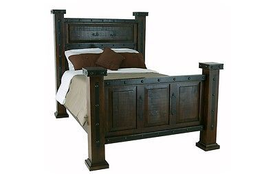 Rustic Gran Hacienda King Bed Solid Wood Lodge Shabby Chic