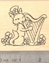 St. Patrick's Day Cat playing Harp Rubber Stamp  K16502 WM - $15.95