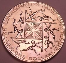 Gem Unc New Zealand 1974 Dollar~10th Annual Commonwealth Games~Free Ship... - $15.93