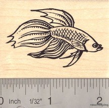 Betta Freshwater Fish Rubber Stamp, Aquarium,   H16305 WM - $13.95