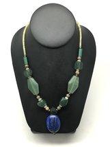 58.6 Grams Afghan Turkmen Tribal Green Jade Nephrite Lapis Lazuli Bead N... - $19.79