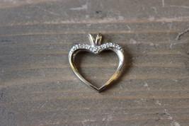 Vintage 10k Yellow Gold Diamond Heart Pendant - $39.59