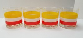 SET of 4 GEORGES BRIARD GLASSES Orange Yellow White STRIPED Unused NOS - $21.95