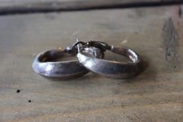 Silver Tone White Stag Hoop Earrings - $7.92