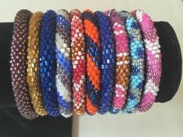 $ NEW 10 SET Nepal Rolls On Beads bracelet crochet handmade bangle Nepal Bead - $24.75