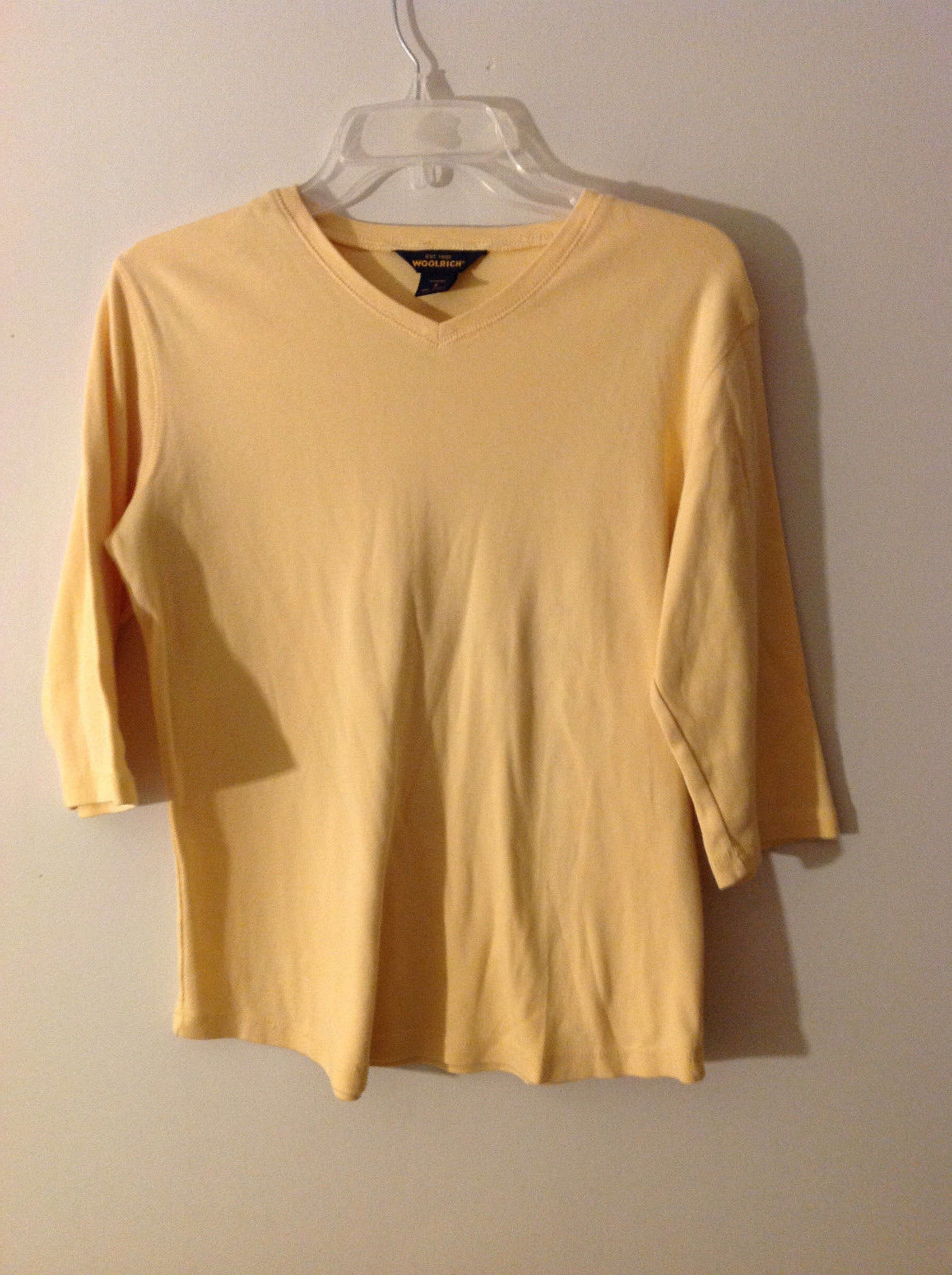 "Woolrich Womens Size S Jersey Knit ""T-Shirt"" Tee Top Yellow V Neck ""3/4"" Sleeves"