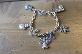 Vintage Silver Blue Rhinestone Winter Christmas Bracelet 7.5 inches - $29.70