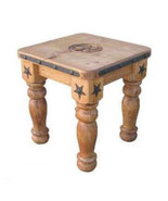 Heavy Iron Detail And Wood End Table With Star Solid Wood Rustic Western... - $197.99