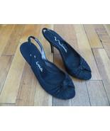 Size 7 M (37 EUR) black peep toe heels shoes slingback strap studs studd... - $19.99