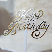 Set of 4 Beautiful Cursive Happy Birthday Silver or Gold Picks Floral or... - $5.75