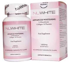 Nuwhite Advanced Whitening Glutathione Collagen & Placenta 1600mg X 60 S... - $110.66