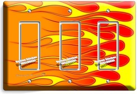 Hot Rod Red Yellow Orange Flames Triple Gfi Light Switch Wall Plate Cover Garage - $14.57