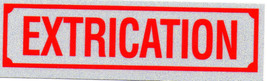 """EXTRICATION Highly Reflective Decal - 1 1/4"""" x 4 1/4""""  Vehicle Extrication Decal - $3.26"""