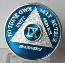 Blue Silver Plated 9 Year AA Chip Alcoholics Anonymous Medallion Coin - $20.39