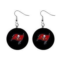 "NFL Football Set of Dangle Earrings Tampa Bay 1"" Button Earrings - $6.99"