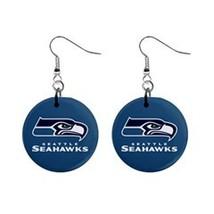 """NFL Football Set of Dangle Earrings Seattle Seahawks 1"""" Button Earrings - $6.99"""