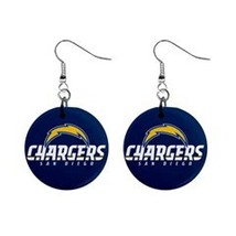 "NFL Football Set of Dangle Earrings San Diego Chargers 1"" Button Earrings - $6.99"