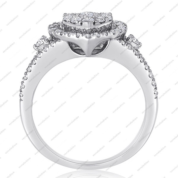White Gold Plated Pure 925 Silver Round Cut CZ Heart Shape Engagement Bridal Set