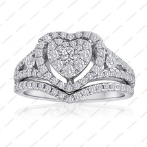 White Gold Plated Pure 925 Silver Round Cut CZ Heart Shape Engagement Br... - $96.99