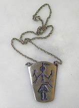 Vintage Hopi Kachina Dancer Pewter Pendant - $14.99