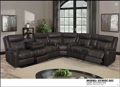 Global Furniture U7303C Brown Sectional Sofa Chic Modern Contemporary Recliner